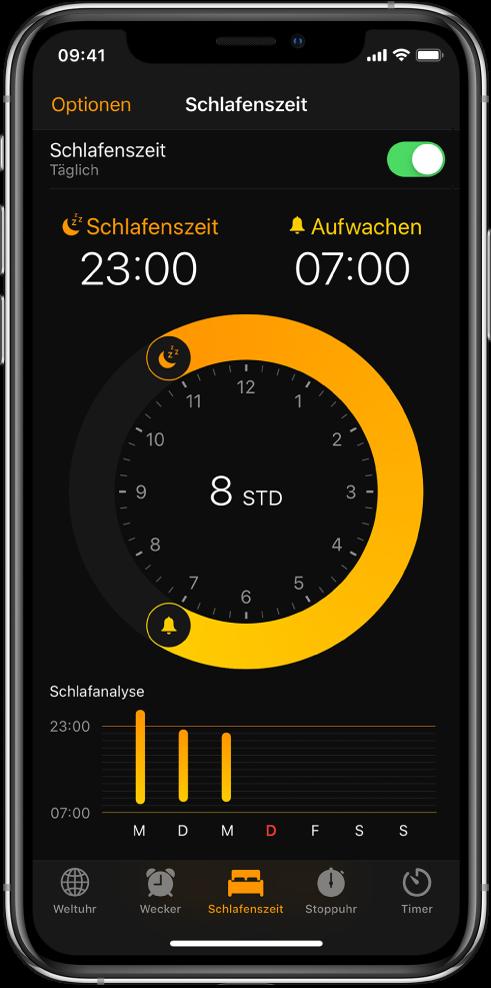 """Der Tab """"Schlafenszeit"""" mit der Zubettgehzeit um 23 Uhr und der Weckzeit um 7 Uhr."""