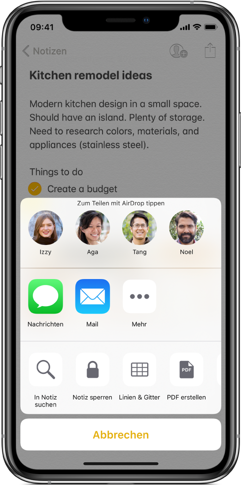 """Der Bildschirm """"Teilen"""" mit den Optionen zum Teilen einer Notiz per AirDrop oder mithilfe der App """"Nachrichten"""" oder """"Mail""""."""