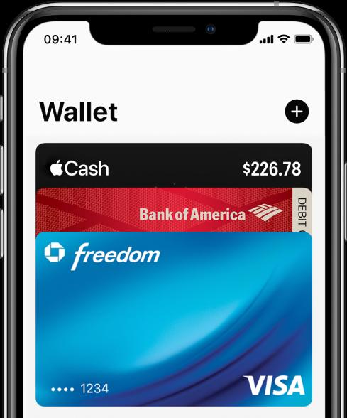"""Die obere Hälfte des Bildschirms """"Wallet"""" mit verschiedenen Kredit- und Debitkarten. Rechts oben befindet sich die Taste """"Hinzufügen""""."""