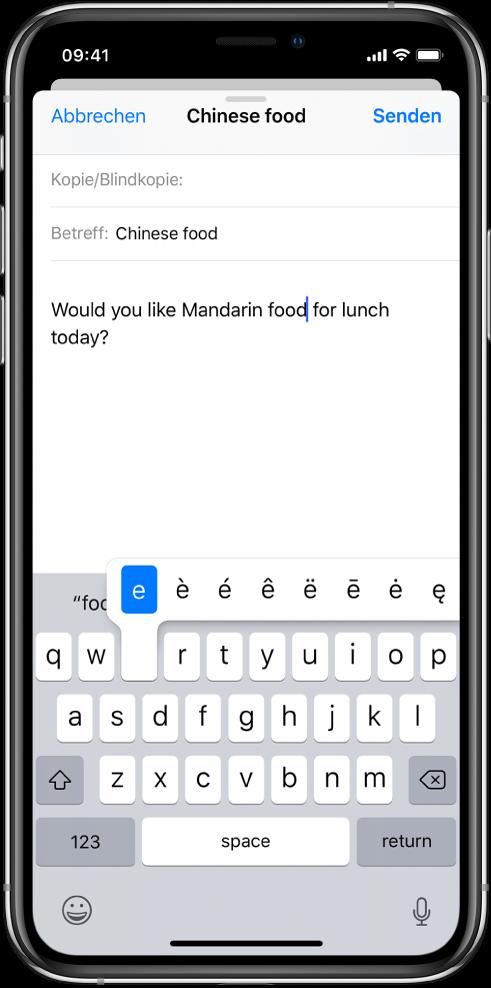 """Bildschirm mit alternativen Zeichen zum Kleinbuchstaben """"e""""."""