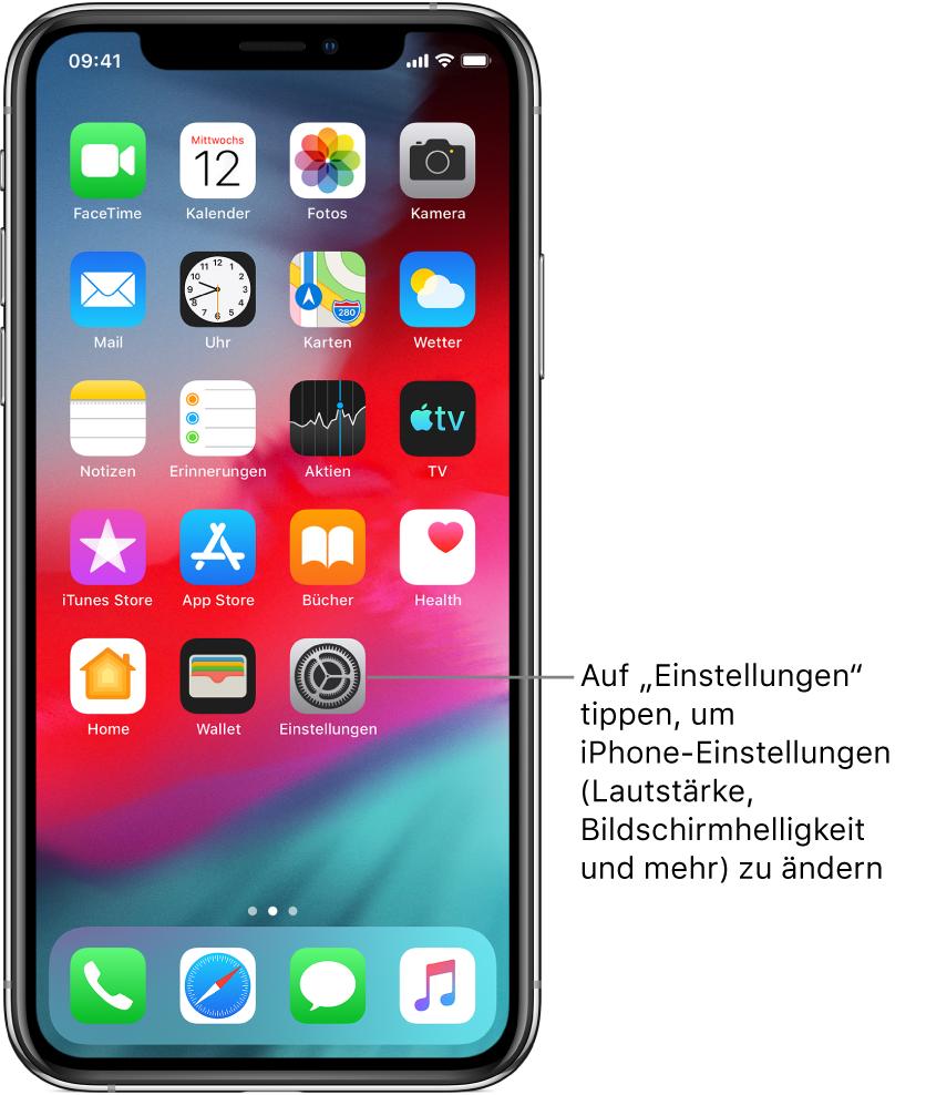 """Der Home-Bildschirm mit mehreren Symbolen, unter anderem mit dem Symbol der App """"Einstellungen"""", in der du Einstellungen wie die Lautstärke und die Bildschirmhelligkeit für das iPhone ändern kannst."""