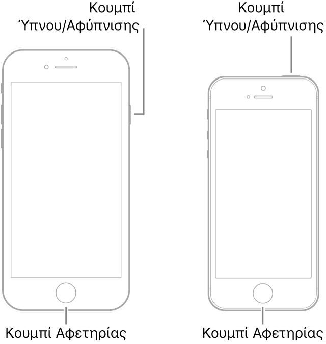 Εικόνες δύο μοντέλων iPhone με τις οθόνες στραμμένες προς τα πάνω. Και στα δύο το κουμπί Αφετηρίας βρίσκεται κοντά στο κάτω μέρος της συσκευής. Το τέρμα αριστερά μοντέλο έχει ένα κουμπί Ύπνου/Αφύπνισης στη δεξιά πλευρά της συσκευής κοντά στο πάνω μέρος, ενώ στο τέρμα δεξιά μοντέλο το κουμπί Ύπνου/Αφύπνισης βρίσκεται στην κορυφή της συσκευής, κοντά στη δεξιά πλευρά.