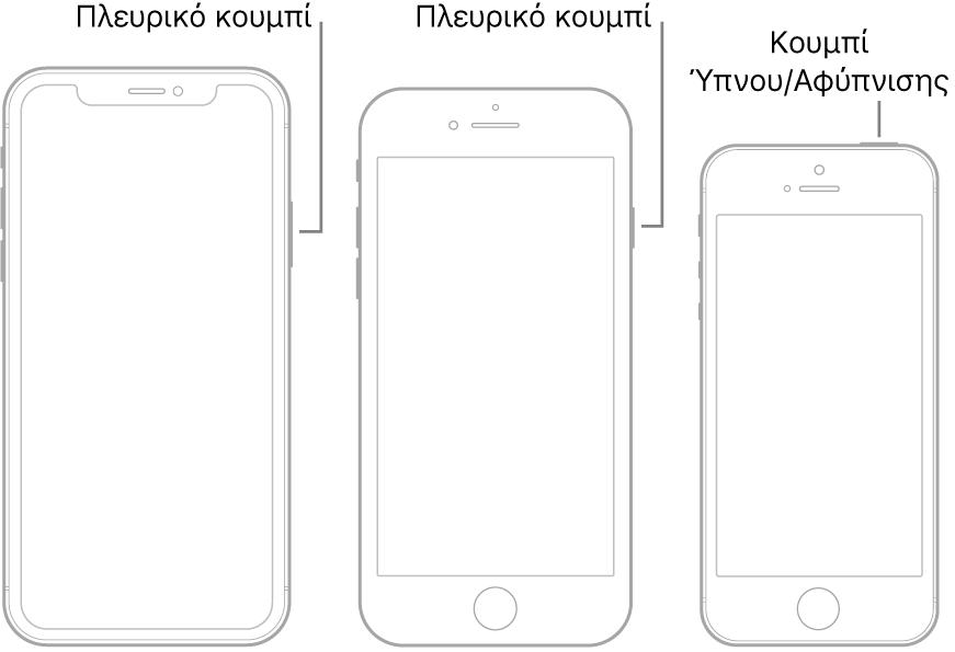 Μια εικόνα που δείχνει τις θέσεις του πλευρικού κουμπιού και του κουμπιού ύπνου/αφύπνισης στο iPhone.