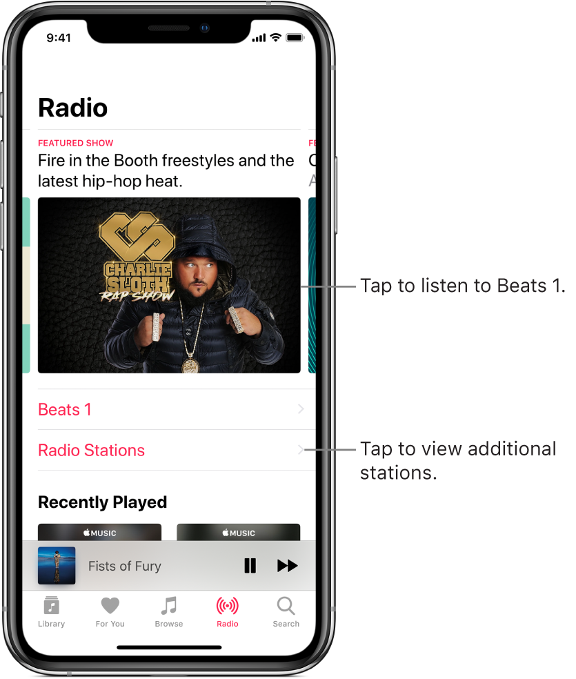 The Radio screen showing Beats 1 Radio at the top. Beats 1 and Radio Stations entries appear below.