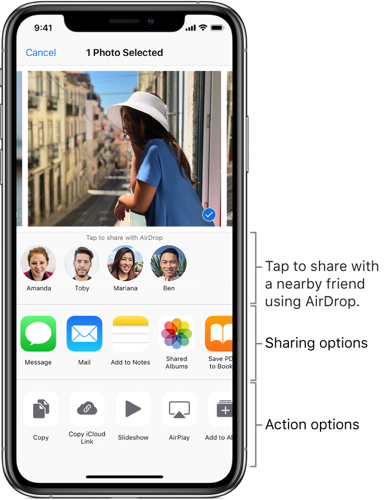 The AirDrop Share screen. At the top are photos to select and share. Below that are people you can share with using AirDrop. The next row shows sharing options, including Message, Mail, Shared Albums, and more. The bottom row shows other actions, including Copy, Slideshow, and AirPlay.