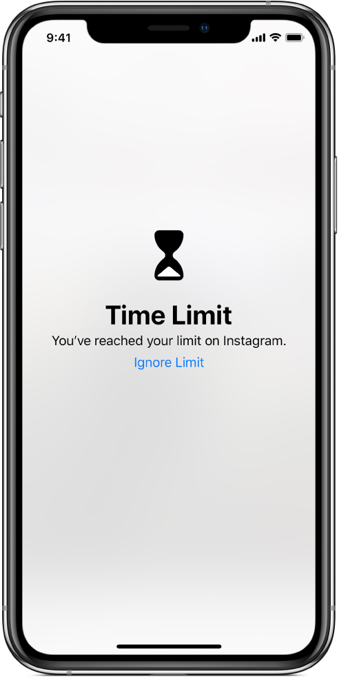 A screen showing a Time Limit alert that one hour has been spent on Instagram today. Below the alert is an Ignore Limit button.