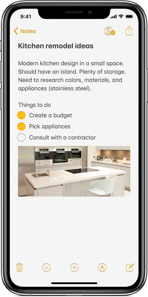 A note showing text for kitchen remodeling ideas and a to-do checklist. There are buttons to collaborate with other people on the note and to share the note. There are buttons at the bottom to delete the note, start a checklist, add an attachment, add markup, and create a new note.