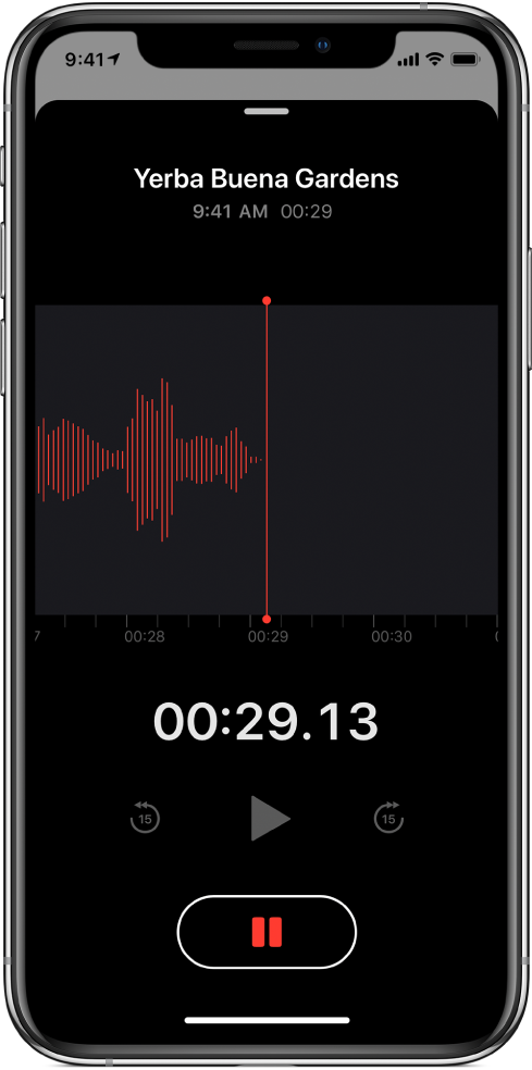 A Voice Memos screen showing a recording in progress.
