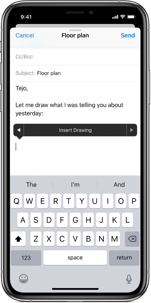 A screen showing how to begin to insert a drawing in the body of an email. The Insert Drawing button, which opens the drawing tools, appears in the email body.
