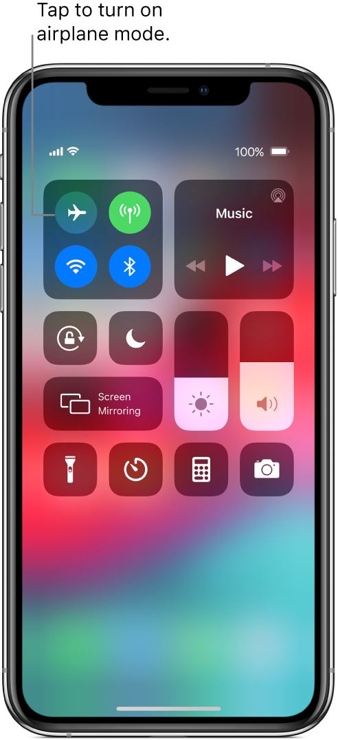 A screen with Control Center showing that a tap on the top-left button turns on airplane mode.