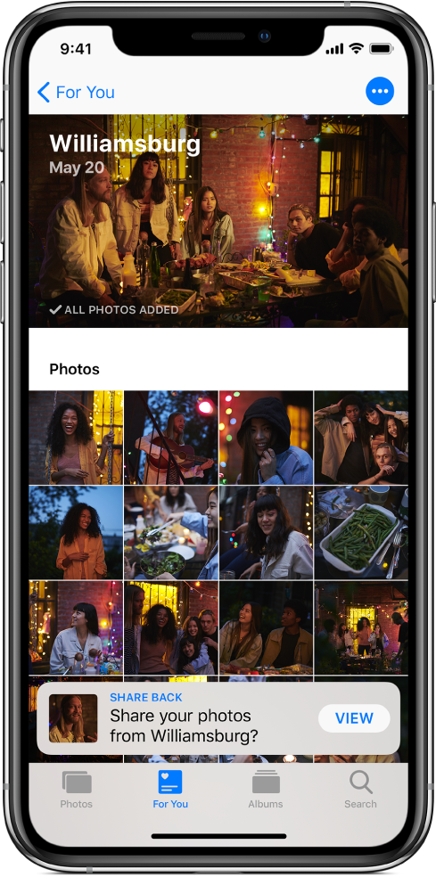 A Sharing Suggestions screen showing shared photos from an event. At the top left is a For You button, which takes you back to the For You screen. A suggestion to share back photos from the same event is at the bottom of the screen.