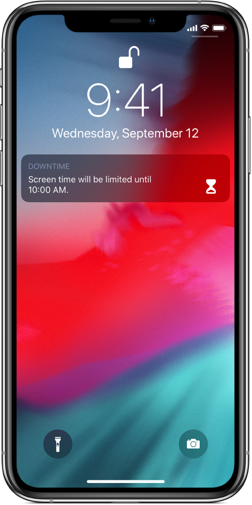 The iPhone Lock screen showing a Downtime notification that Screen time is limited until 10:00 a.m.