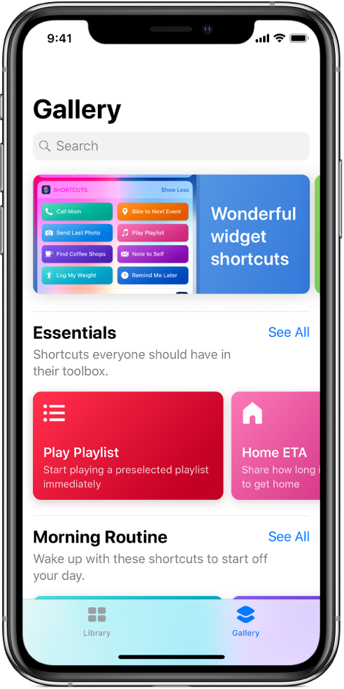 The Gallery tab in the Shortcuts app, showing suggestions for shortcuts.