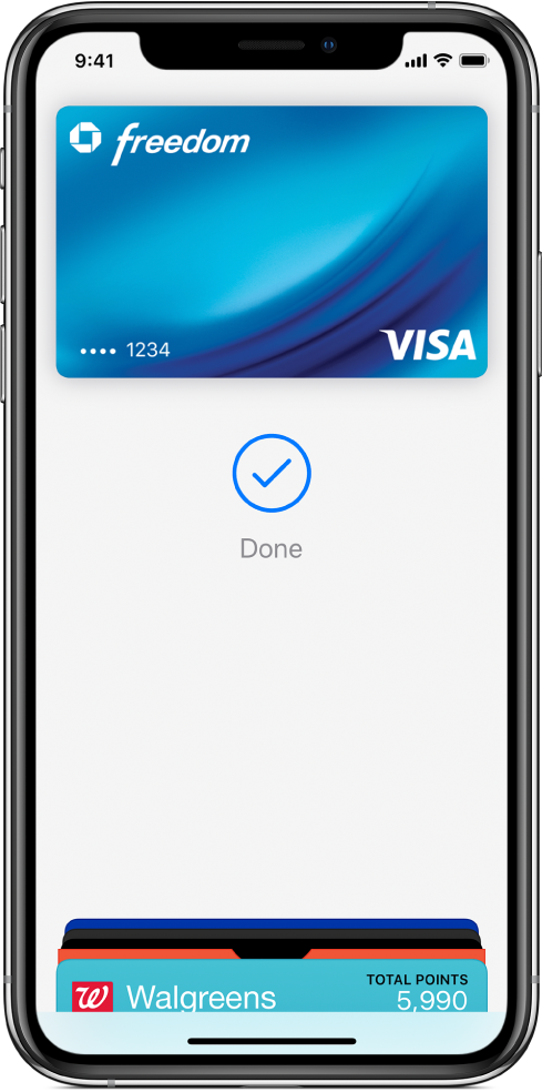 "A credit card on the Wallet screen. Below the card is a checkmark and the word ""Done."""