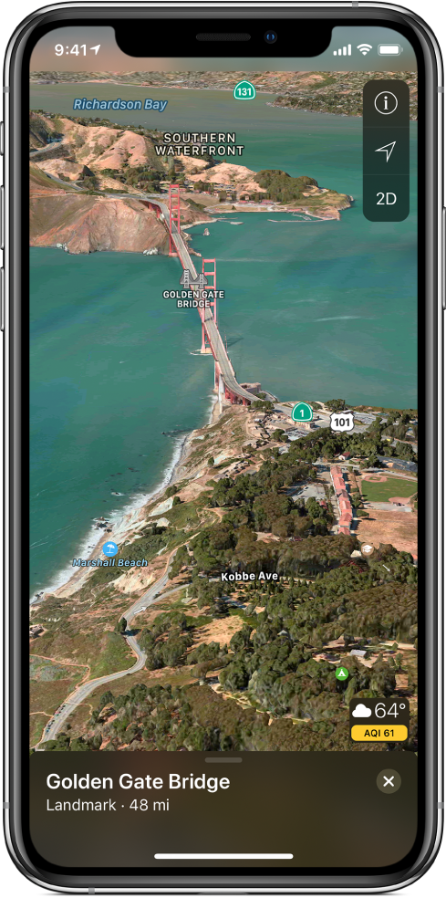 A 3D satellite map of the area around the Golden Gate Bridge. The Tracking Off, Settings, and 2D buttons appear in the upper right, and a weather icon with a temperature reading and an air quality index appears in the lower right.