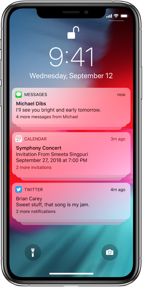 Three groups of notifications on the Lock screen: five messages, three Calendar invitations, and three Twitter notifications.