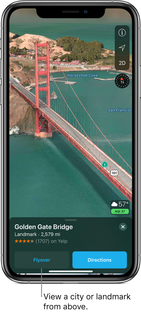 An image of a portion of the Golden Gate Bridge. At the bottom of the screen, a banner shows the Flyover button to the left of the Directions button.