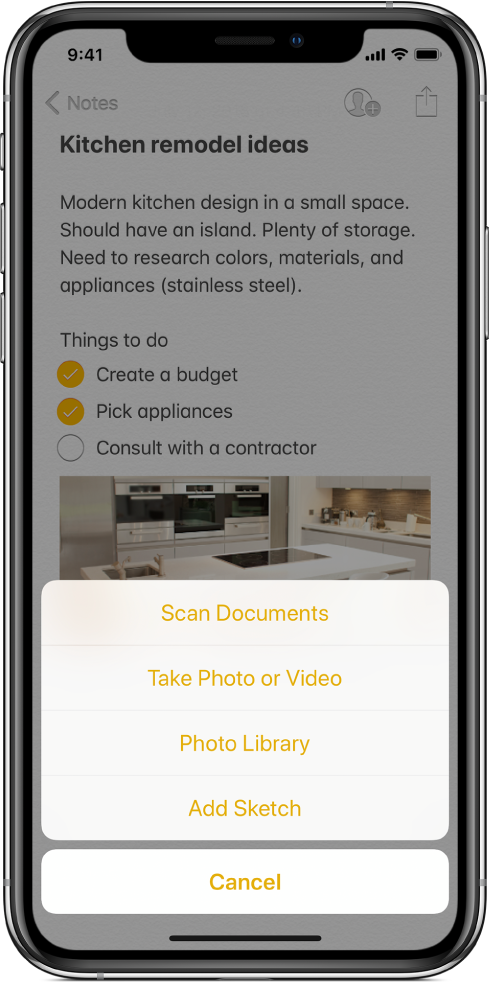 A note with the Insert menu, showing choices for Scan Documents, Take Photo or Video, Photo Library, or Add Sketch.