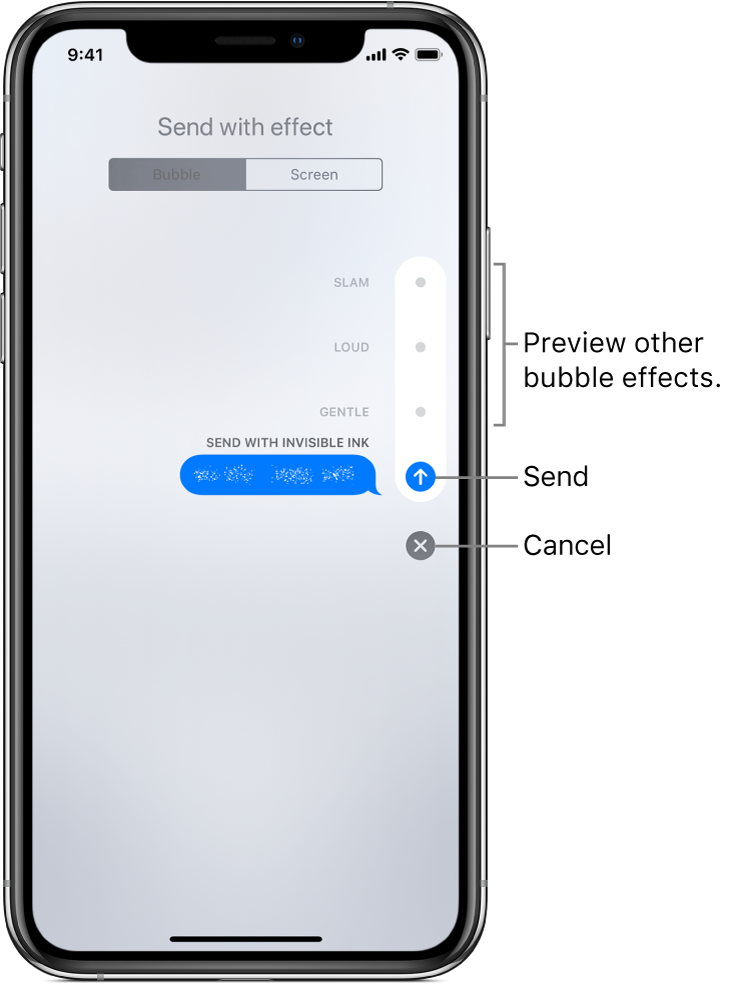 A message preview with the invisible ink effect. Along the right, tap a control to preview other bubble effects. Tap the same control again to send, or tap the Cancel button below to return to your message.