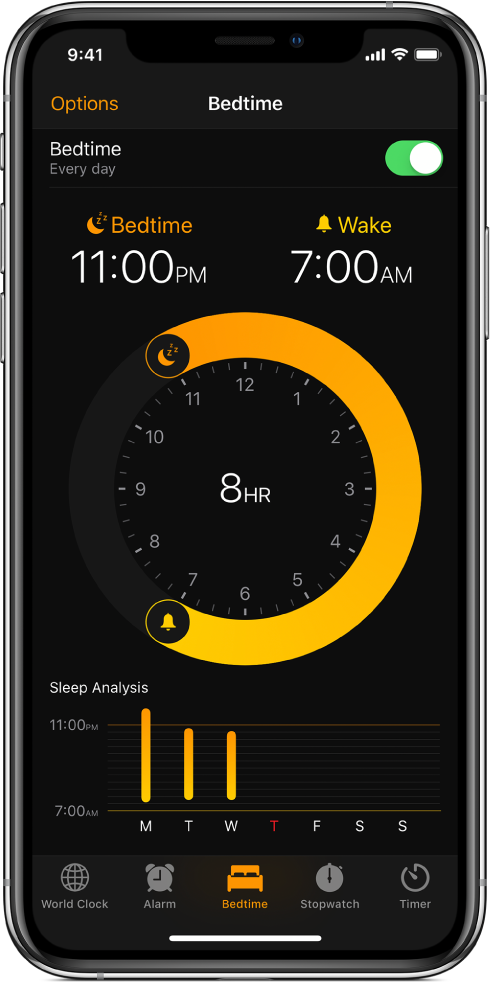 The Bedtime tab, showing the sleep time starting at 11 PM and the wake time set at 7 AM.