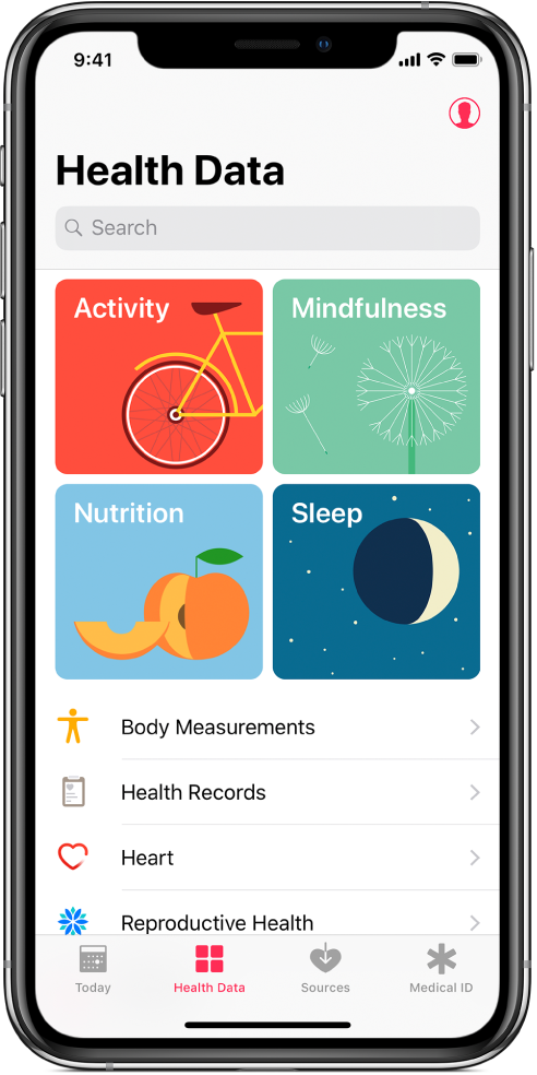 The Health Data screen of the Health app, with Activity, Mindfulness, Nutrition, and Sleep categories. The Profile button is at the top right. At the bottom, from left to right, are the Today, Health Data, Sources, and Medical ID tabs.