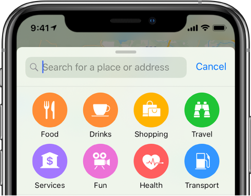 Buttons for eight services appear below the search field. The buttons in the top row are labeled Food, Drinks, Shopping, and Travel. The buttons in the bottom row are labeled Services, Fun, Health, and Transport.