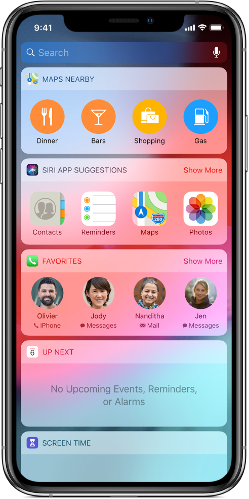Today View showing widgets for Maps Nearby, Siri App Suggestions, Favorites, Up Next, and Screen Time.