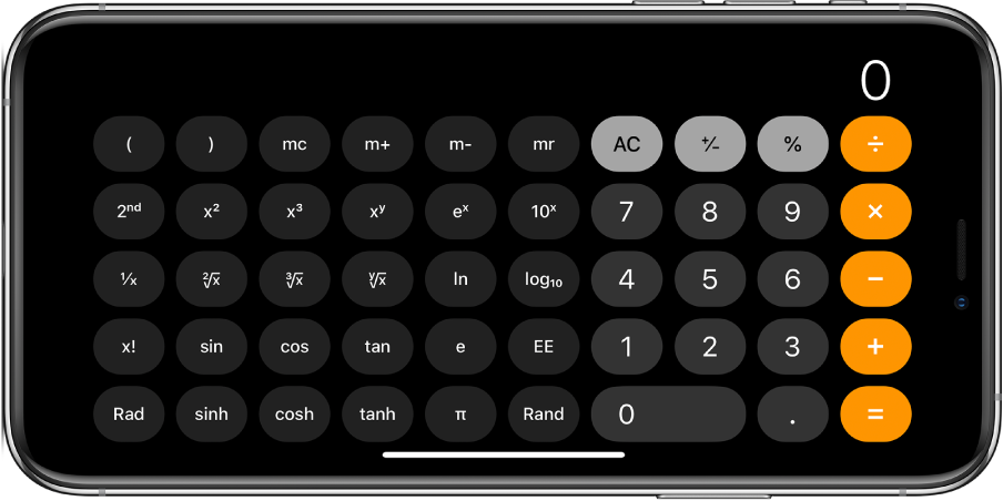 iPhone in landscape orientation showing the scientific calculator with exponential, logarithmic, and trigonometric functions.