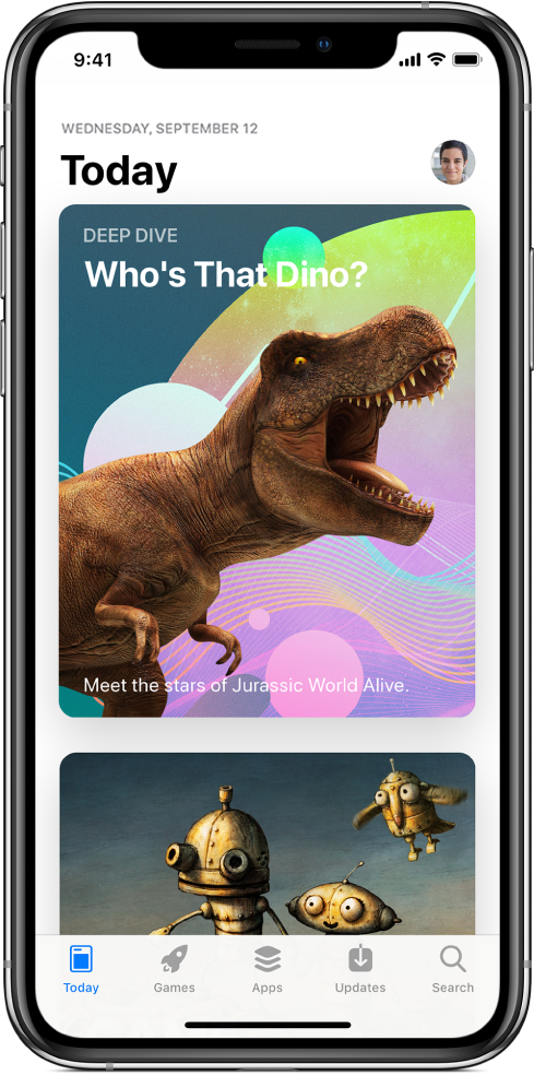 The Today screen of the App Store showing a featured app. Your profile picture, which you tap to view purchases, is in the top right. Along the bottom, from left to right, are the Today, Games, Apps, Updates, and Search tabs.