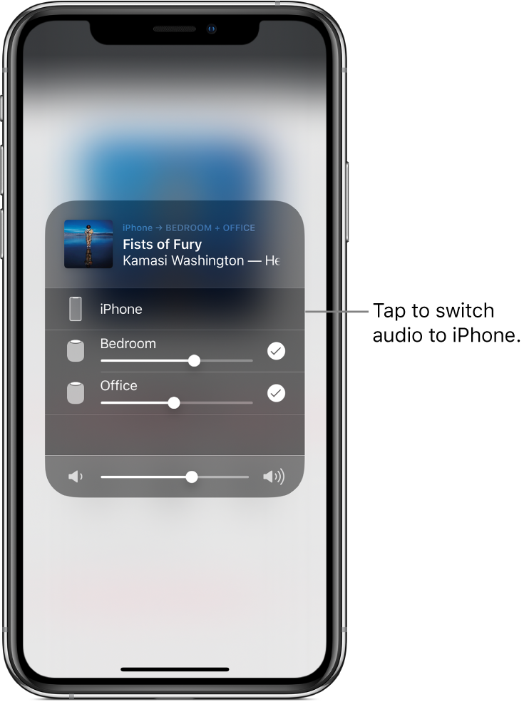 "An AirPlay window is open and shows a song title and artist name at the top, with a volume slider at the bottom. The bedroom and office speakers are selected. A callout points to iPhone and reads, ""Tap to switch audio to iPhone."""