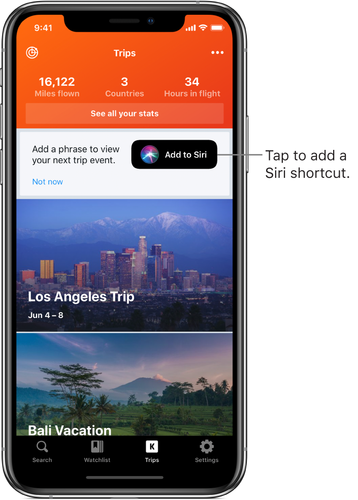 The screen for an app listing upcoming trips. An Add to Siri button appears on the right near the top of the screen.