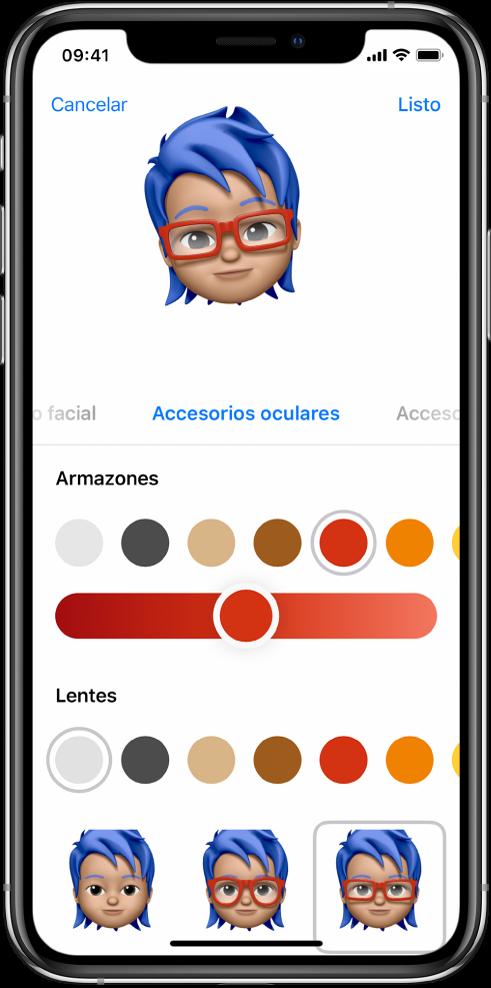 Pantalla para crear un Memoji mostrando la creación del personaje en la parte superior, las características personalizables debajo del personaje, y las opciones de la característica seleccionada en la parte inferior. El botón OK se encuentra en la esquina superior derecha y el botón Cancelar está en la esquina superior izquierda.