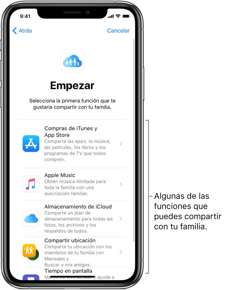"""La pantalla Empezar de la configuración de """"Compartir en familia"""". Muestra cinco funciones que puedes comenzar a compartir con tu familia: compras de iTunes y AppStore, AppleMusic, almacenamiento de iCloud, ubicaciones y """"Tiempo en pantalla""""."""