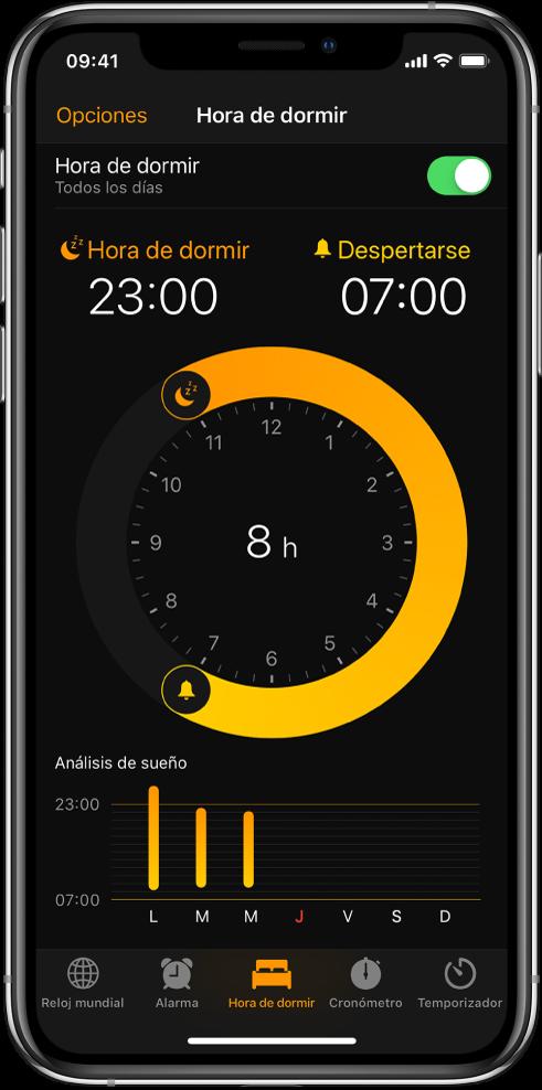 """La pestaña """"Hora de dormir"""" mostrando la hora de dormir a las 11 p.m. y la hora de despertar a las 7 a.m."""