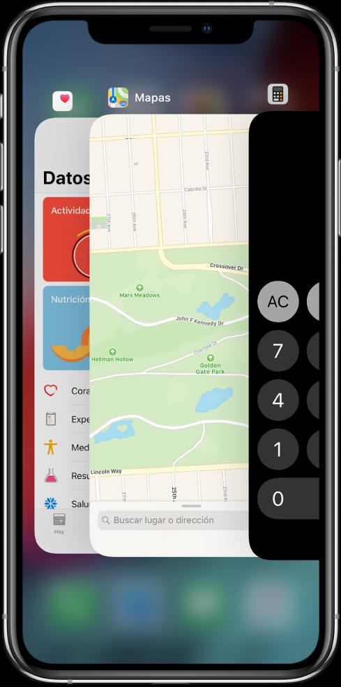 Ver el selector de apps. Íconos de las apps abiertas aparecen en la parte superior y la pantalla actual de cada app aparece debajo de su ícono.