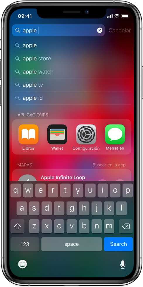 """Pantalla mostrando la búsqueda de contenido en el iPhone. En la parte superior se encuentra el campo de búsqueda con el texto """"apple"""" y debajo se muestran resultados para el texto."""