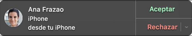Notificación en un Mac donde se muestra la cara y el nombre de la persona que llama a la izquierda y los botones para aceptar o rechazar la llamada a la derecha.