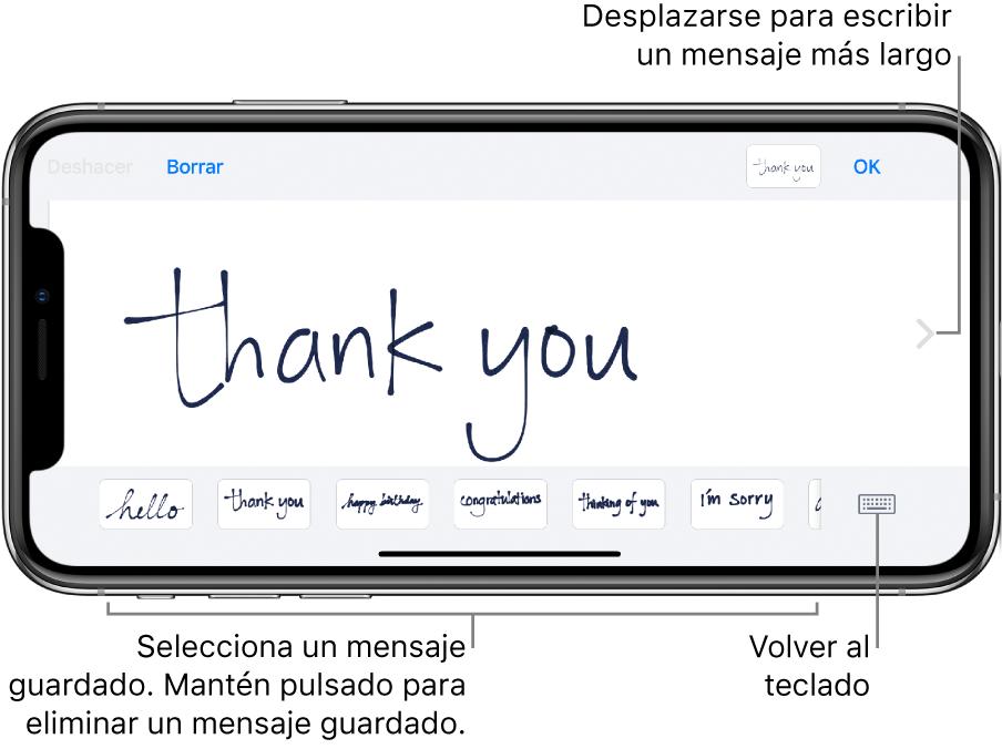 """Pantalla para escribir a mano con un mensaje escrito a mano. En la parte inferior de la pantalla, de izquierda a derecha, se encuentran los mensajes guardados y el botón """"Mostrar teclado""""."""