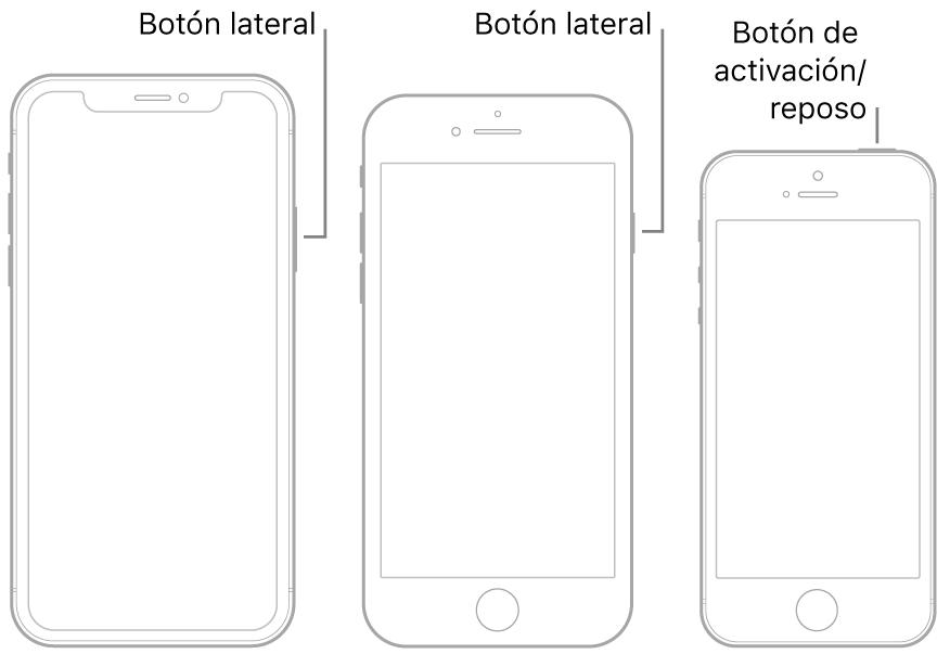 Ilustración que muestra la ubicación de los botones de activación/reposo y del botón lateral en el iPhone.