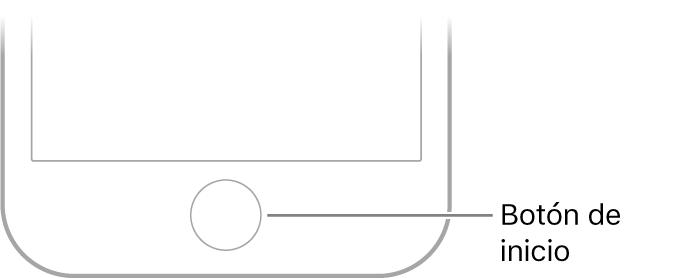 Botón de inicio en la parte inferior del iPhone.
