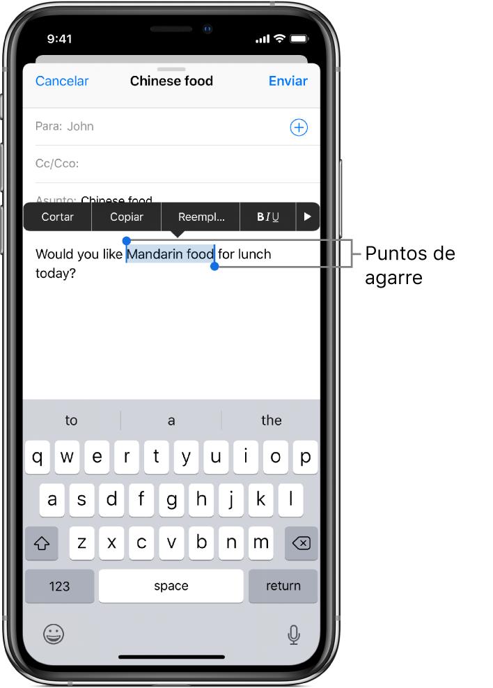 """Mensaje de correo electrónico de ejemplo con parte del texto seleccionado. Encima de la selección están los botones Cortar, Copiar, Pegar, Negrita/Cursiva/Subrayado y """"Mostrar más"""". El texto seleccionado está resaltado y presenta puntos de selección en ambos extremos."""