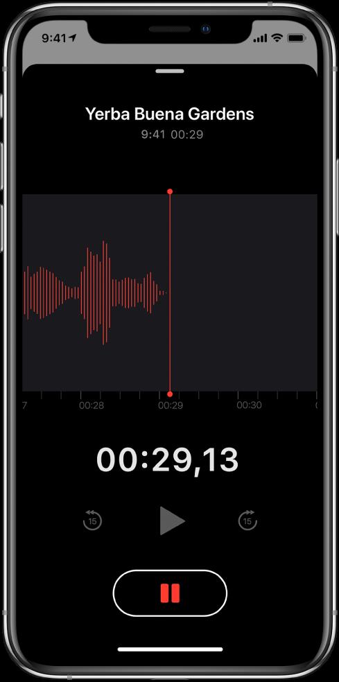 Pantalla de Notas de Voz con una grabación en curso.