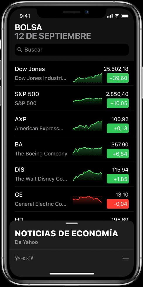 """Lista de favoritos con diferentes valores. Para cada valor de la lista se muestra, de izquierda a derecha, el símbolo y el nombre del valor, una gráfica de su evolución, el precio del valor y el cambio del precio. En la parte superior de la pantalla, sobre la lista de favoritos, se encuentra el campo de búsqueda. Debajo de la lista se muestra """"Noticias de economía"""". Desliza """"Noticias de economía"""" hacia arriba para ver artículos."""