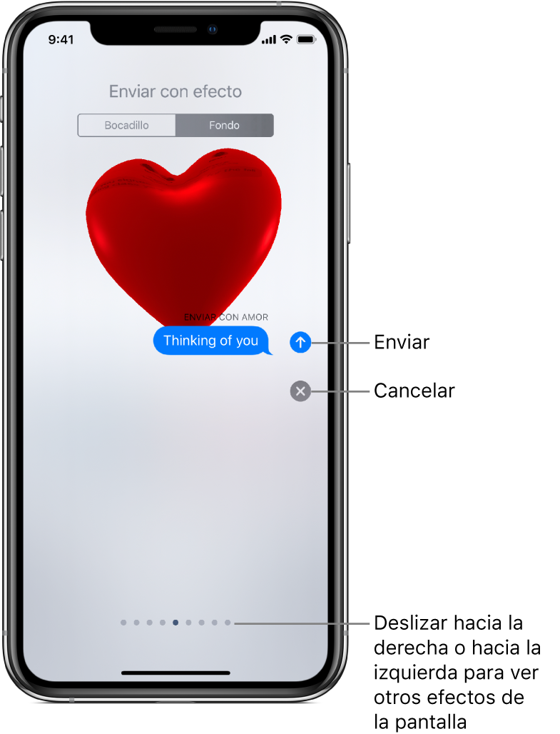Vista previa de un mensaje con un efecto de pantalla completa con un corazón rojo.