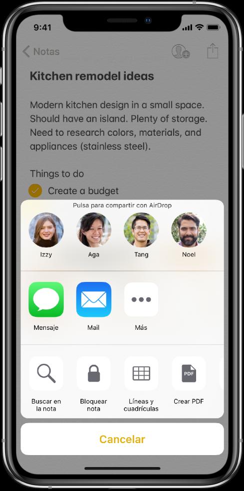 La pantalla de compartir con opciones para compartir una nota con AirDrop o mediante Mensajes o Mail.