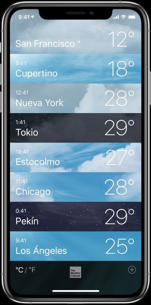 Lista de ciudades con la hora y la temperatura actual de cada una.