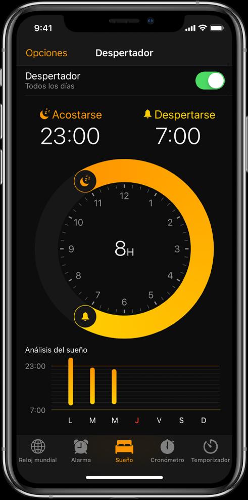 Pestaña Despertador con la hora de acostarse a las 11 p.m. y la hora de despertarse a las 7 a.m.