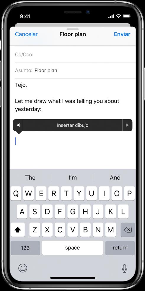 """Pantalla que muestra cómo empezar a insertar un dibujo en el cuerpo de un correo electrónico. En el cuerpo del correo aparece el botón """"Insertar dibujo"""", que abre las herramientas de dibujo."""