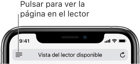 Campo de dirección en Safari con el botón Lector a la izquierda.