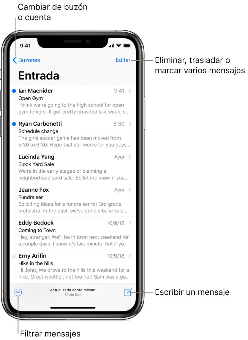 Bandeja de entrada con una lista de correos electrónicos. El botón Buzones para cambiar de buzón se encuentra en la esquina superior izquierda. El botón Editar para eliminar, mover o marcar mensajes de correo electrónico se encuentra en la esquina superior derecha. El botón para filtrar los correos electrónicos de forma que solo se muestren determinados mensajes se encuentra en la esquina inferior izquierda. El botón para redactar un mensaje de correo electrónico nuevo se encuentra en la esquina inferior derecha.